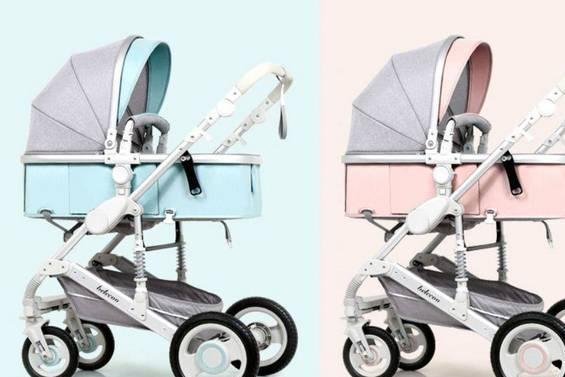 高景观婴儿推车可坐躺折叠双向四轮